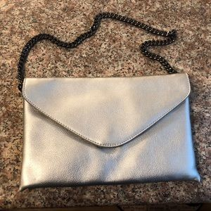 J. Crew Silver Envelope Clutch. 100% Leather